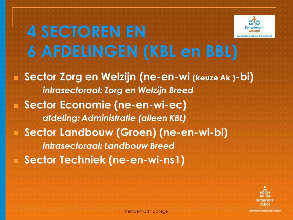 Kempenhorst College 4 SECTOREN EN 6 AFDELINGEN (KBL en BBL) Sector Zorg en Welzijn (ne-en-wi (keuze Ak ) -bi) intrasectoraal: Zorg en Welzijn Breed Se