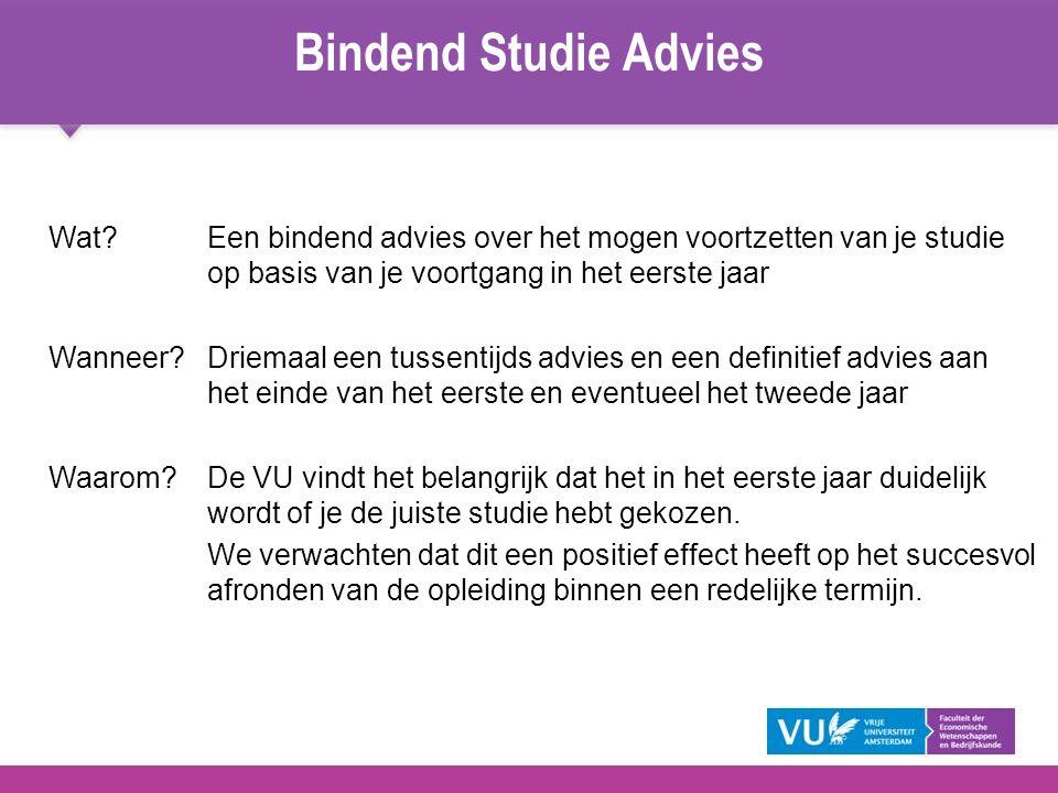 Wat?Een bindend advies over het mogen voortzetten van je studie op basis van je voortgang in het eerste jaar Wanneer?Driemaal een tussentijds advies e