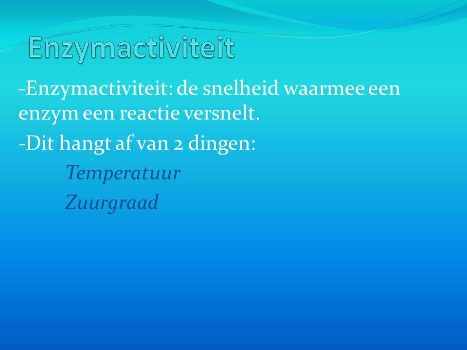 -Enzymactiviteit: de snelheid waarmee een enzym een reactie versnelt. -Dit hangt af van 2 dingen: Temperatuur Zuurgraad