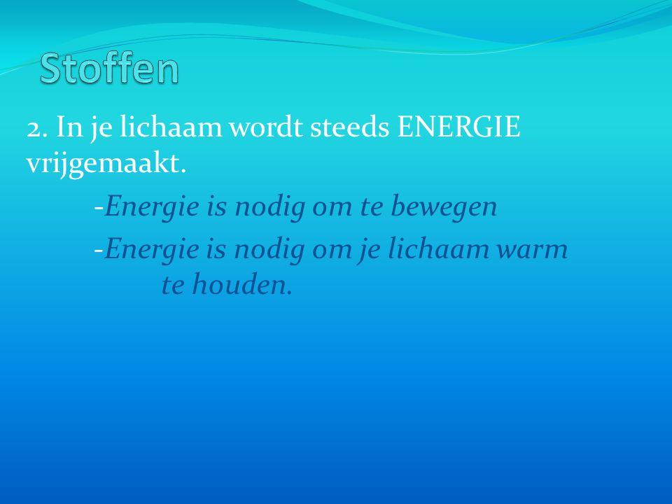 2. In je lichaam wordt steeds ENERGIE vrijgemaakt. -Energie is nodig om te bewegen -Energie is nodig om je lichaam warm te houden.