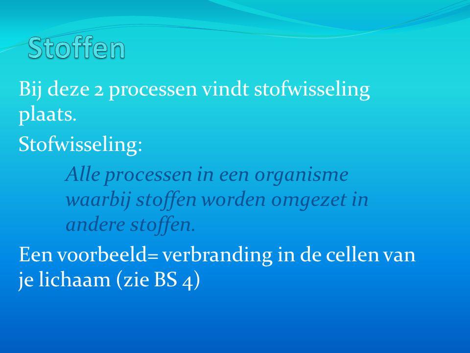 Bij deze 2 processen vindt stofwisseling plaats. Stofwisseling: Alle processen in een organisme waarbij stoffen worden omgezet in andere stoffen. Een