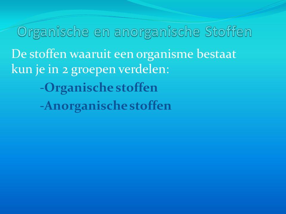 -Organische stoffen: Afkomstig van organismen of van producten van organismen.