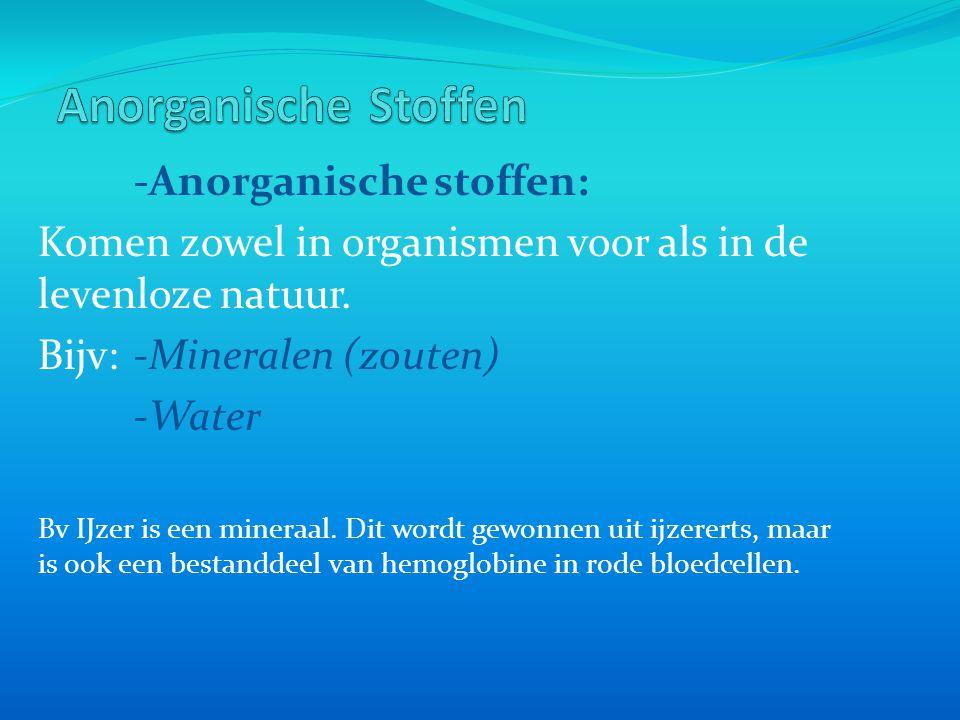 -Anorganische stoffen: Komen zowel in organismen voor als in de levenloze natuur. Bijv:-Mineralen (zouten) -Water Bv IJzer is een mineraal. Dit wordt