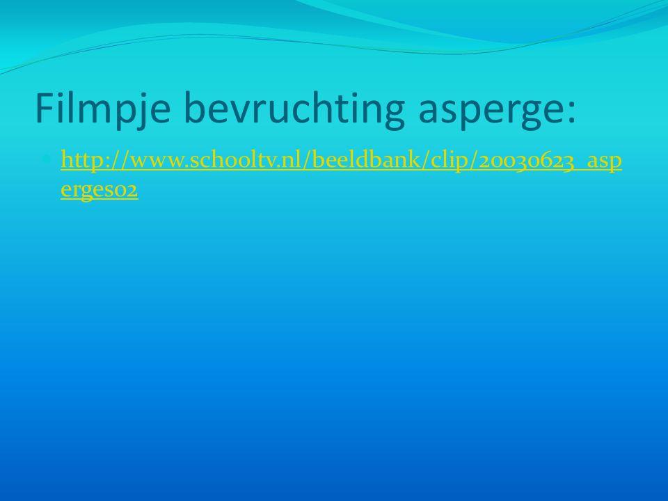 Filmpje bevruchting asperge: http://www.schooltv.nl/beeldbank/clip/20030623_asp erges02 http://www.schooltv.nl/beeldbank/clip/20030623_asp erges02