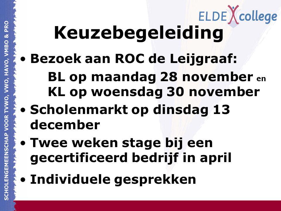 Keuzebegeleiding Bezoek aan ROC de Leijgraaf: BL op maandag 28 november en KL op woensdag 30 november Scholenmarkt op dinsdag 13 december Twee weken stage bij een gecertificeerd bedrijf in april Individuele gesprekken