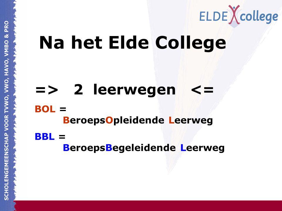 => 2 leerwegen <= BOL = BeroepsOpleidende Leerweg BBL = BeroepsBegeleidende Leerweg Na het Elde College