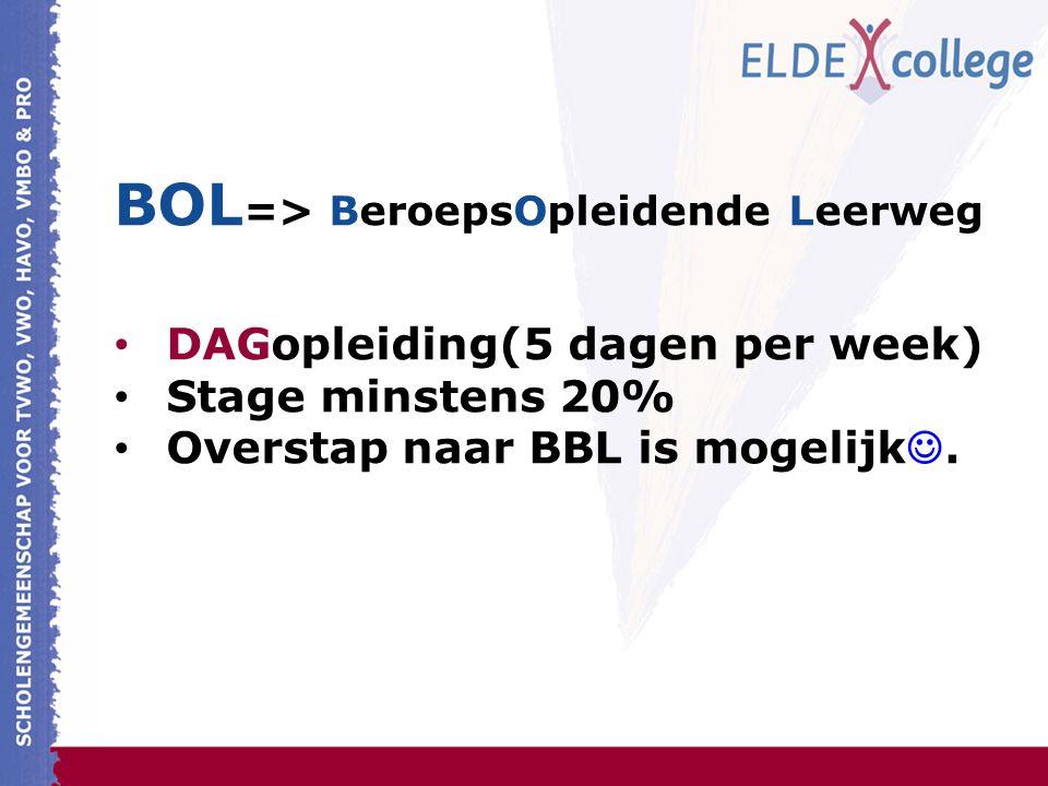 BOL => BeroepsOpleidende Leerweg DAGopleiding(5 dagen per week) Stage minstens 20% Overstap naar BBL is mogelijk.