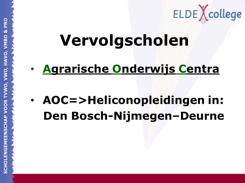 Vervolgscholen Agrarische Onderwijs Centra AOC=>Heliconopleidingen in: Den Bosch-Nijmegen–Deurne