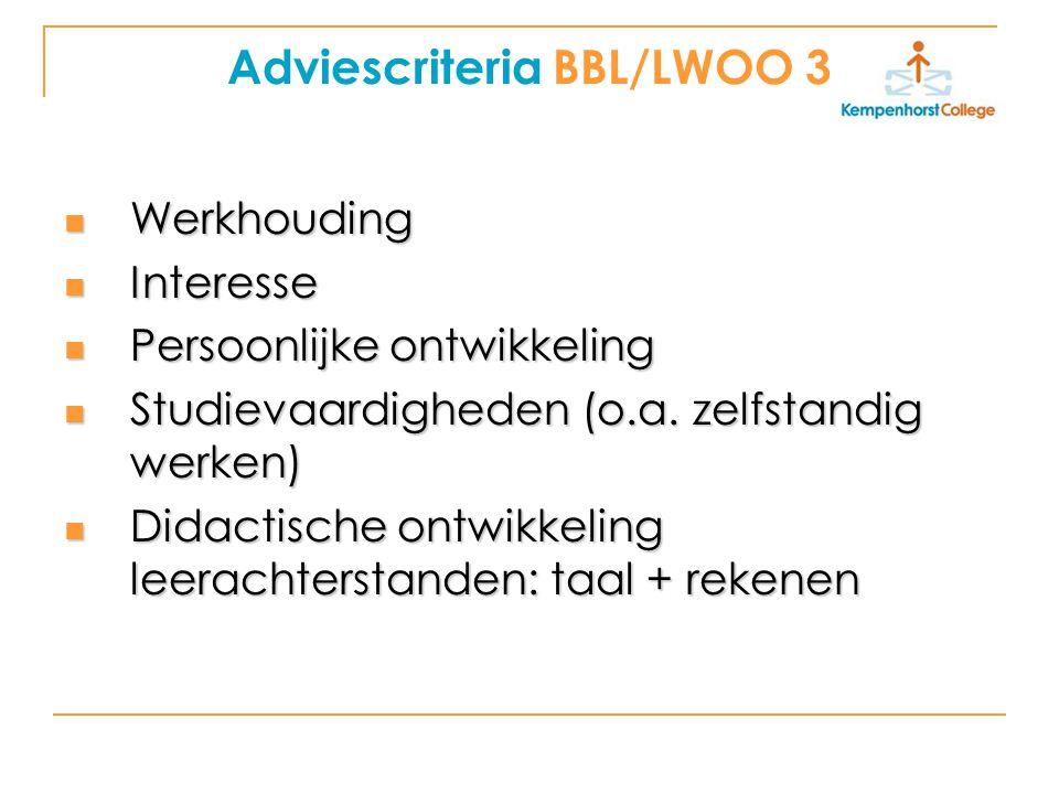 Adviescriteria BBL/LWOO 3 Werkhouding Werkhouding Interesse Interesse Persoonlijke ontwikkeling Persoonlijke ontwikkeling Studievaardigheden (o.a.
