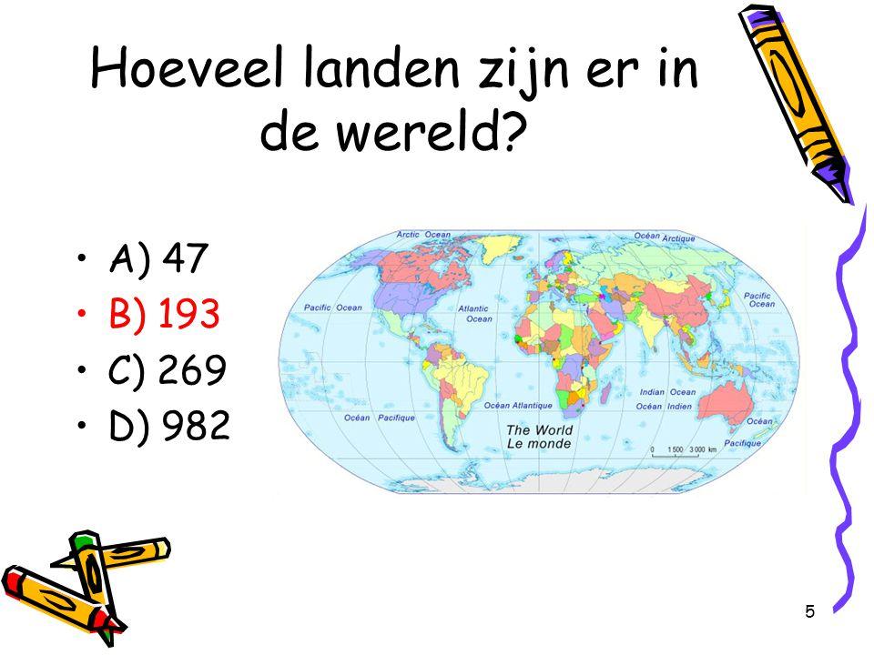 36 Op welke leeftijd mag je in het Nederlandse leger? A) 12 B) 16 C) 18 D) 21