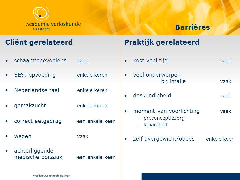 Cliënt gerelateerd schaamtegevoelens vaak SES, opvoeding enkele keren Nederlandse taal enkele keren gemakzucht enkele keren correct eetgedrag een enke