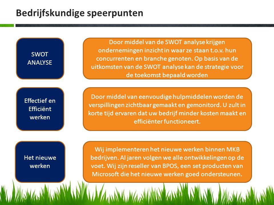 Bedrijfskundige speerpunten SWOT ANALYSE Effectief en Efficiënt werken Het nieuwe werken Door middel van de SWOT analyse krijgen ondernemingen inzicht