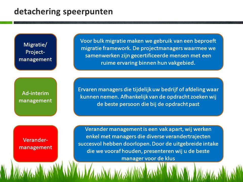 detachering speerpunten Migratie/ Project- management Ad-interim management Verander- management Voor bulk migratie maken we gebruik van een beproeft