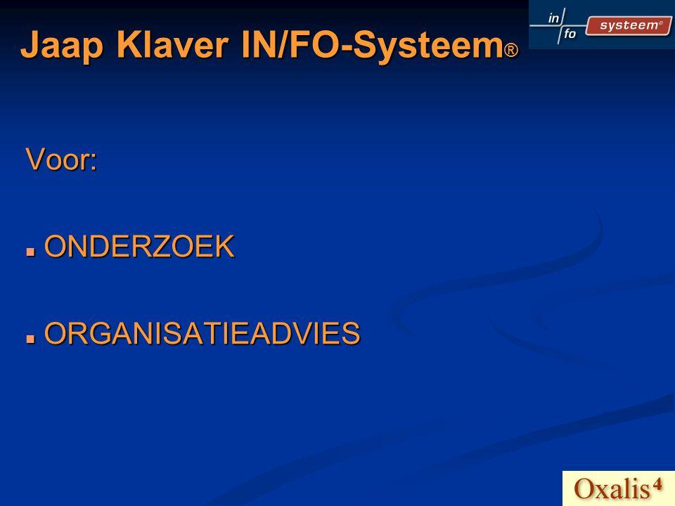 Jaap Klaver IN/FO-Systeem ® WERKT ALS NETWERK-ORGANISATIE EN BRENGT EEN EIGEN ONDERZOEK OP DE MARKT: OXALIS4