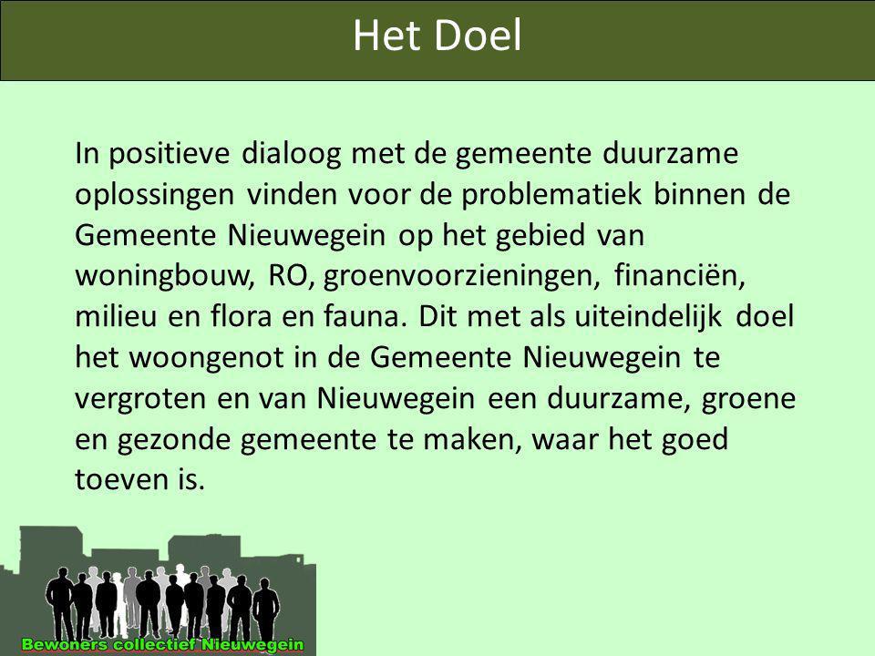 In positieve dialoog met de gemeente duurzame oplossingen vinden voor de problematiek binnen de Gemeente Nieuwegein op het gebied van woningbouw, RO, groenvoorzieningen, financiën, milieu en flora en fauna.