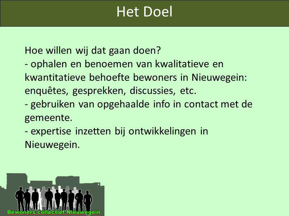 Hoe willen wij dat gaan doen? - ophalen en benoemen van kwalitatieve en kwantitatieve behoefte bewoners in Nieuwegein: enquêtes, gesprekken, discussie