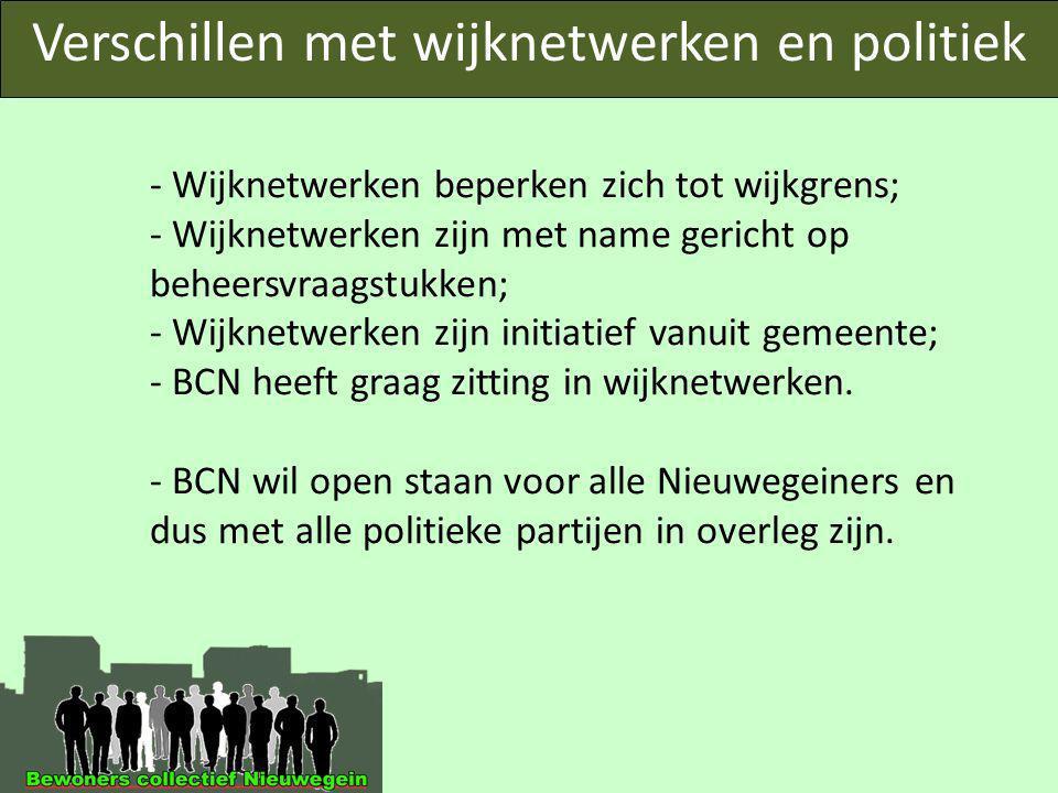 Verschillen met wijknetwerken en politiek - Wijknetwerken beperken zich tot wijkgrens; - Wijknetwerken zijn met name gericht op beheersvraagstukken; - Wijknetwerken zijn initiatief vanuit gemeente; - BCN heeft graag zitting in wijknetwerken.