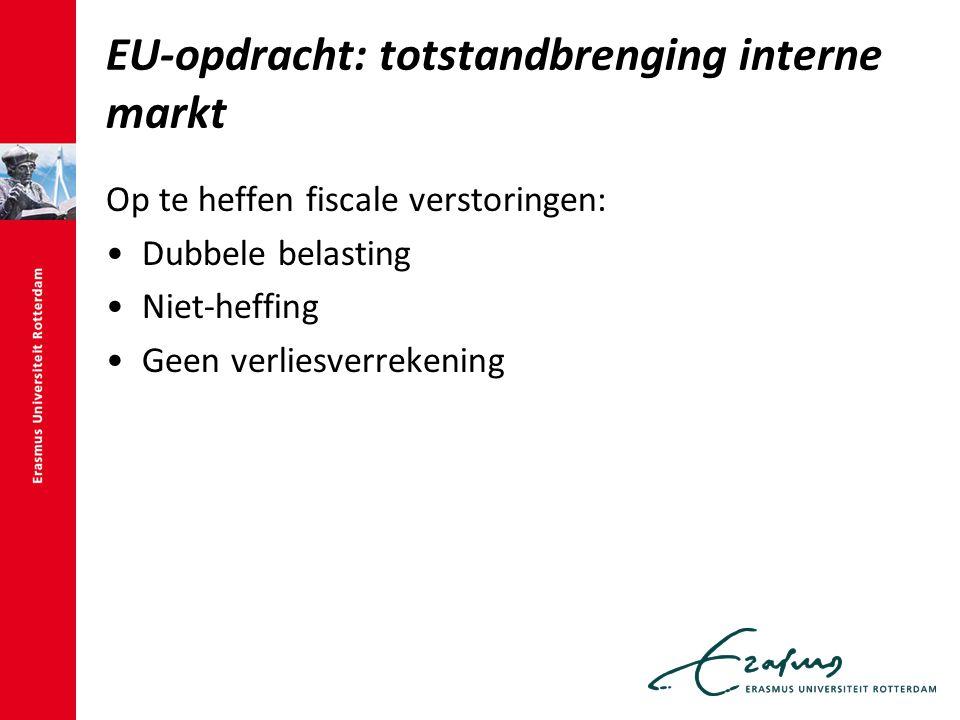 EU-opdracht: totstandbrenging interne markt Op te heffen fiscale verstoringen: Dubbele belasting Niet-heffing Geen verliesverrekening