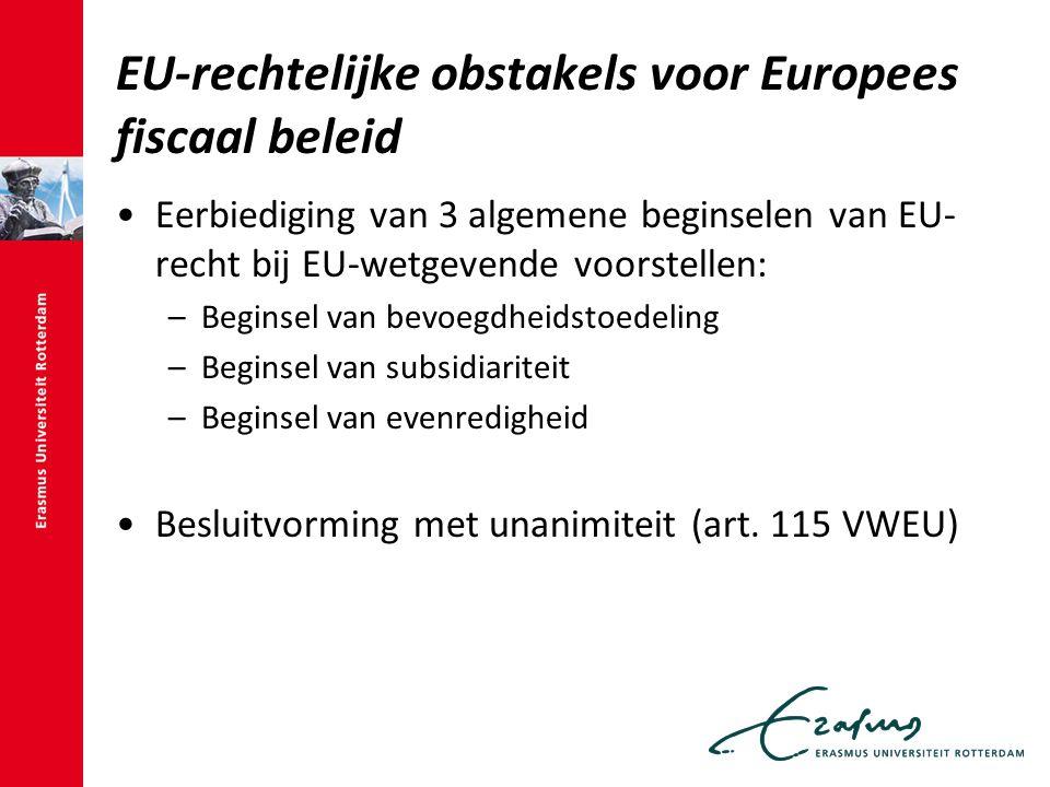 EU-rechtelijke obstakels voor Europees fiscaal beleid Eerbiediging van 3 algemene beginselen van EU- recht bij EU-wetgevende voorstellen: –Beginsel van bevoegdheidstoedeling –Beginsel van subsidiariteit –Beginsel van evenredigheid Besluitvorming met unanimiteit (art.