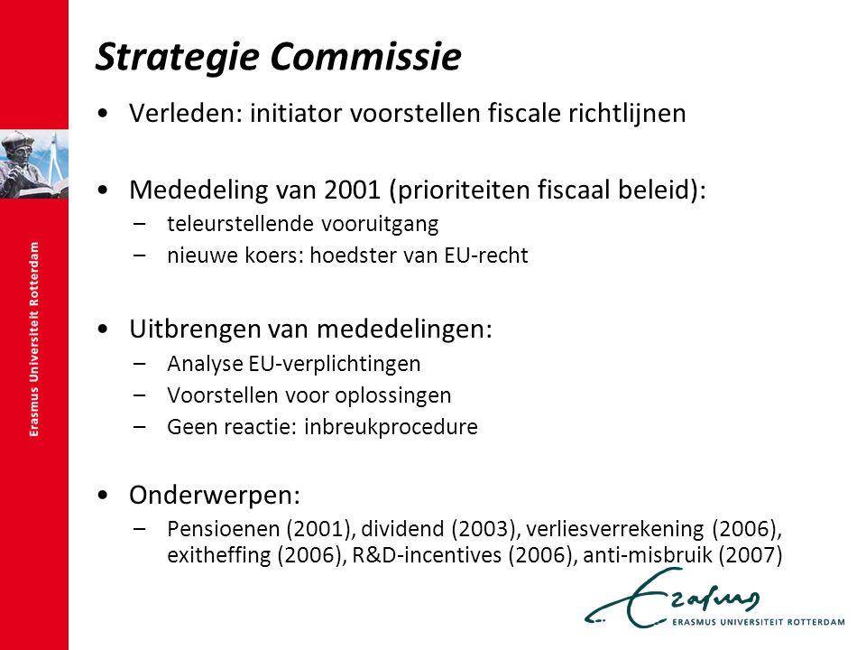 Strategie Commissie Verleden: initiator voorstellen fiscale richtlijnen Mededeling van 2001 (prioriteiten fiscaal beleid): –teleurstellende vooruitgang –nieuwe koers: hoedster van EU-recht Uitbrengen van mededelingen: –Analyse EU-verplichtingen –Voorstellen voor oplossingen –Geen reactie: inbreukprocedure Onderwerpen: –Pensioenen (2001), dividend (2003), verliesverrekening (2006), exitheffing (2006), R&D-incentives (2006), anti-misbruik (2007)
