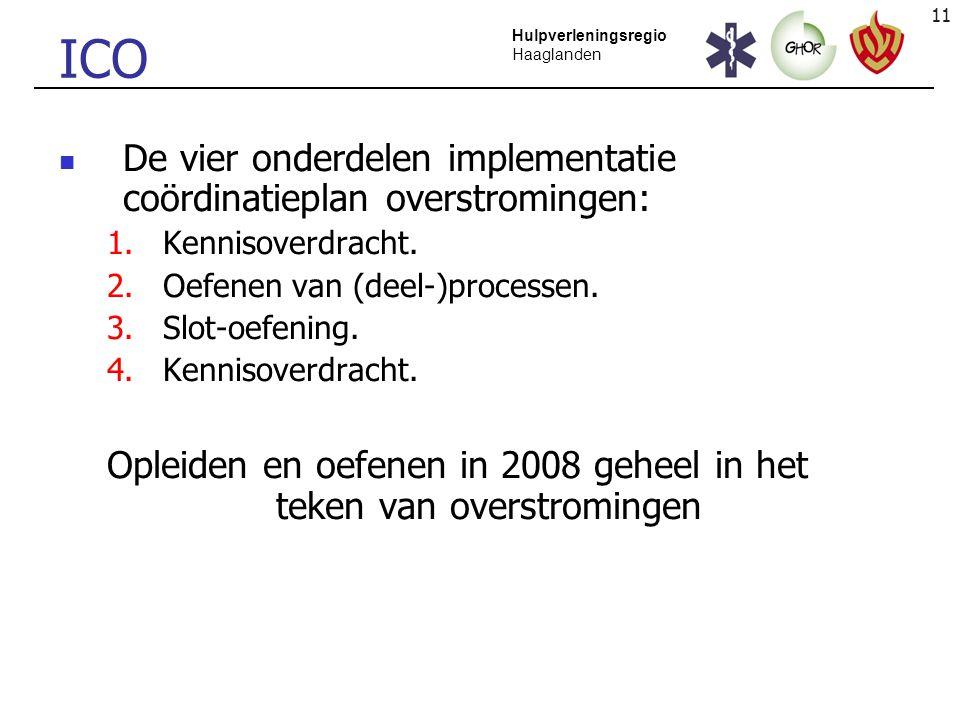 11 Hulpverleningsregio Haaglanden ICO De vier onderdelen implementatie coördinatieplan overstromingen: 1.Kennisoverdracht. 2.Oefenen van (deel-)proces