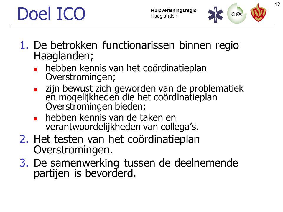 12 Hulpverleningsregio Haaglanden Doel ICO 1.De betrokken functionarissen binnen regio Haaglanden; hebben kennis van het coördinatieplan Overstrominge