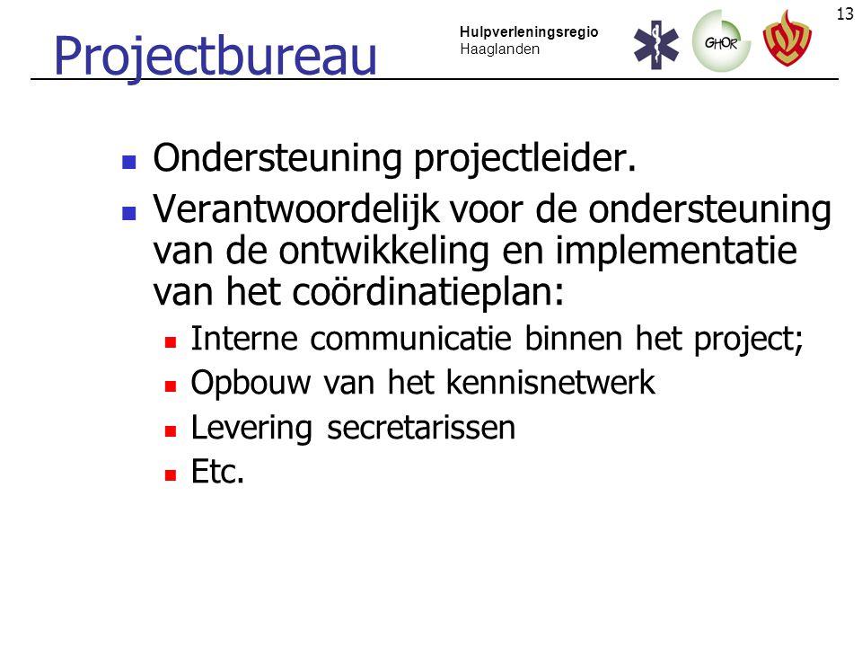 13 Hulpverleningsregio Haaglanden Projectbureau Ondersteuning projectleider. Verantwoordelijk voor de ondersteuning van de ontwikkeling en implementat