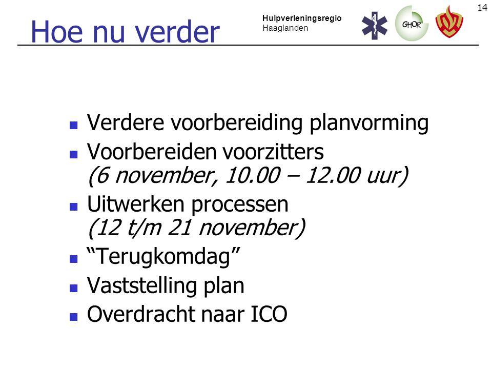 14 Hulpverleningsregio Haaglanden Hoe nu verder Verdere voorbereiding planvorming Voorbereiden voorzitters (6 november, 10.00 – 12.00 uur) Uitwerken p