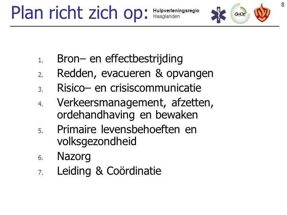 8 Hulpverleningsregio Haaglanden Plan richt zich op: 1. Bron– en effectbestrijding 2. Redden, evacueren & opvangen 3. Risico– en crisiscommunicatie 4.