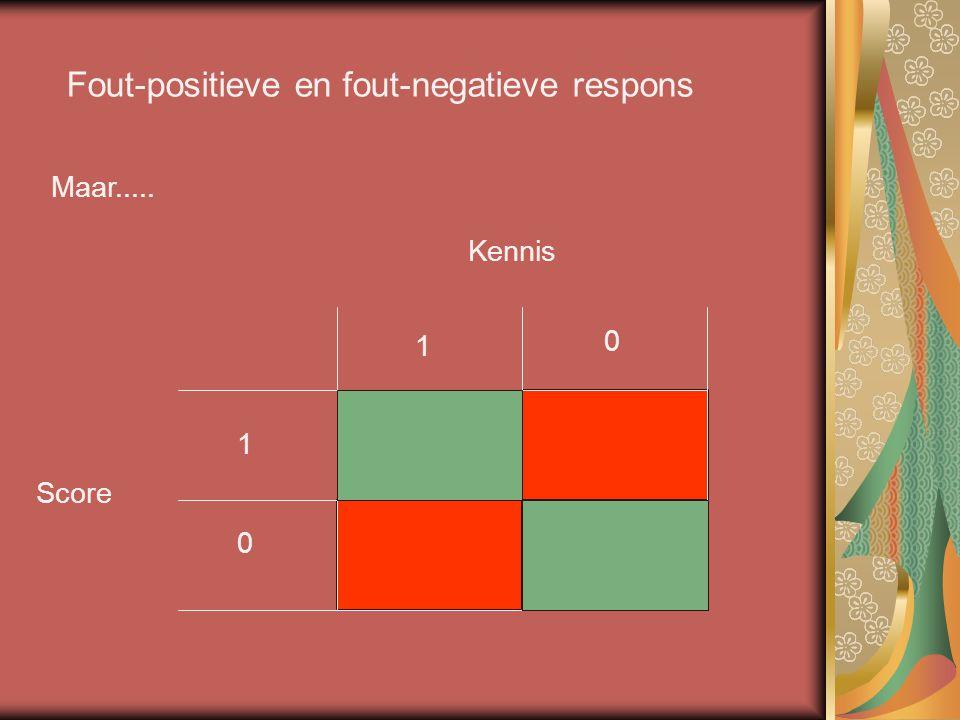 Fout-positieve en fout-negatieve respons Maar..... Kennis Score 1 0 1 0