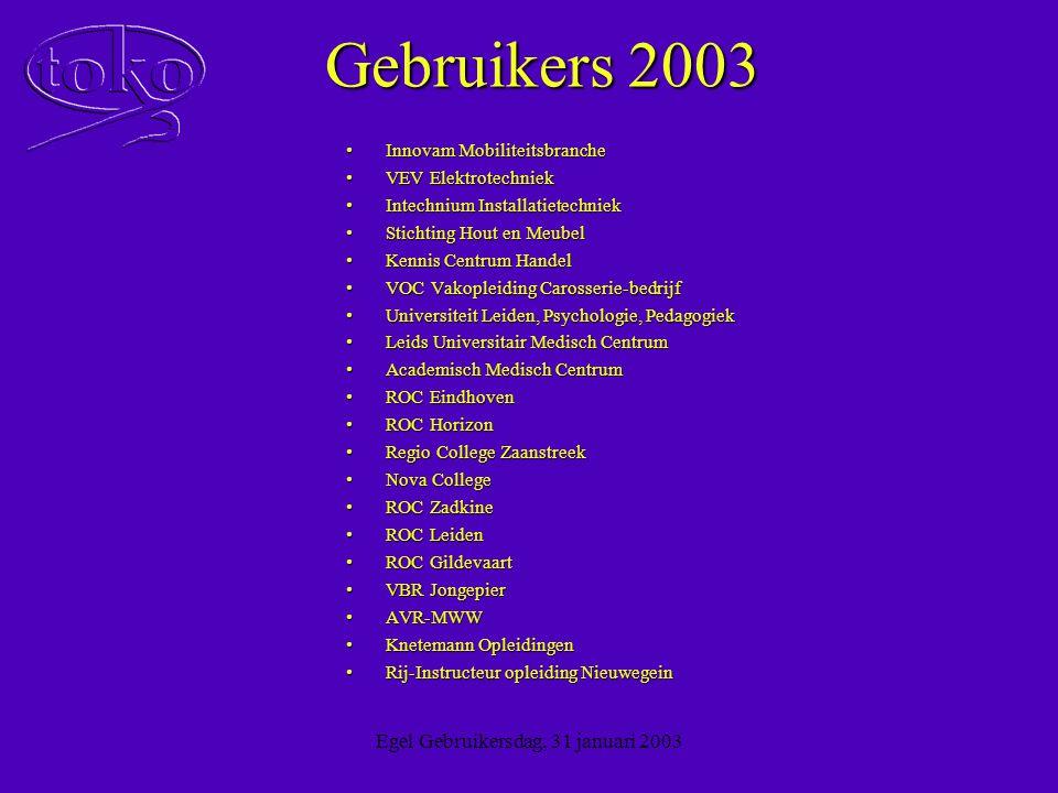 Egel Gebruikersdag, 31 januari 2003 Student Login