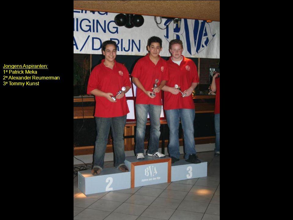 Jongens Aspiranten: 1 e Patrick Meka 2 e Alexander Reumerman 3 e Tommy Kunst