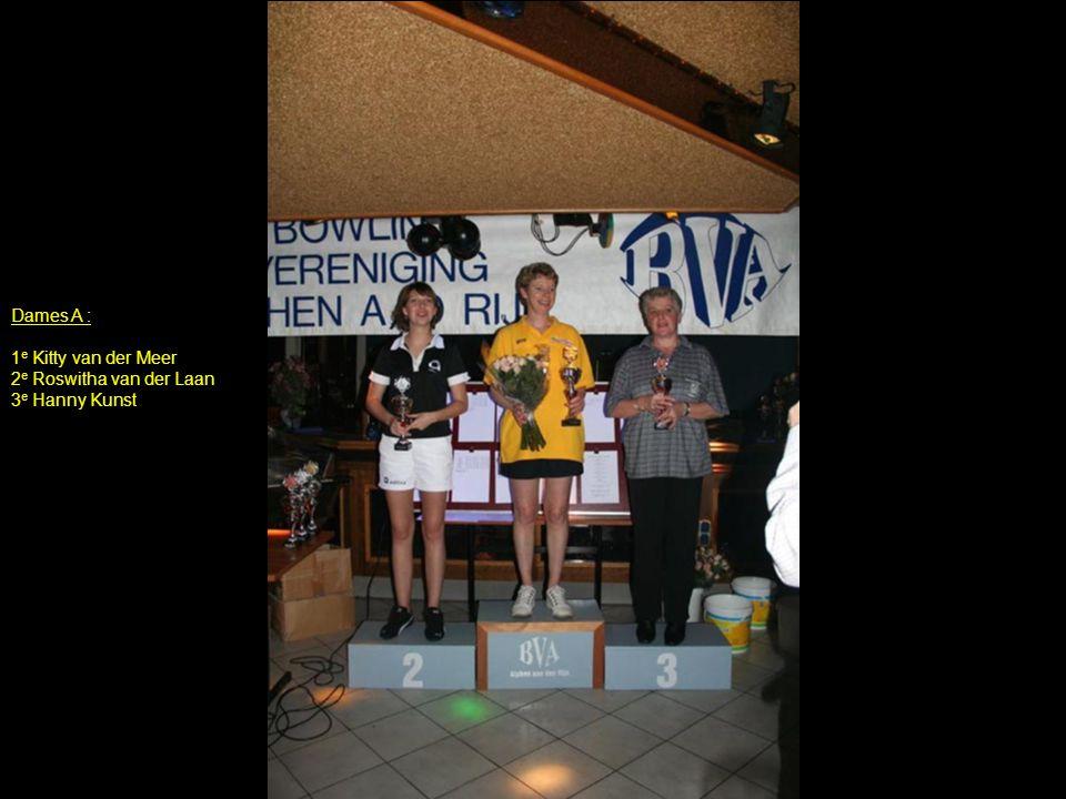 Dames A : 1 e Kitty van der Meer 2 e Roswitha van der Laan 3 e Hanny Kunst