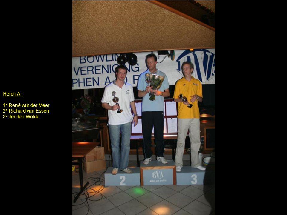 Heren A : 1 e René van der Meer 2 e Richard van Essen 3 e Jon ten Wolde