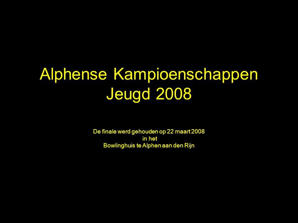 Alphense Kampioenschappen Jeugd 2008 De finale werd gehouden op 22 maart 2008 in het Bowlinghuis te Alphen aan den Rijn