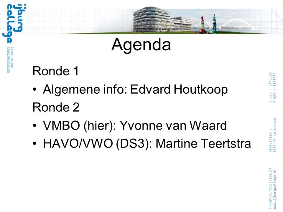 Agenda Ronde 1 Algemene info: Edvard Houtkoop Ronde 2 VMBO (hier): Yvonne van Waard HAVO/VWO (DS3): Martine Teertstra