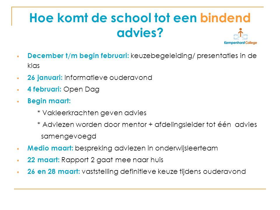 Hoe komt de school tot een bindend advies?  December t/m begin februari: keuzebegeleiding/ presentaties in de klas  26 januari: Informatieve ouderav