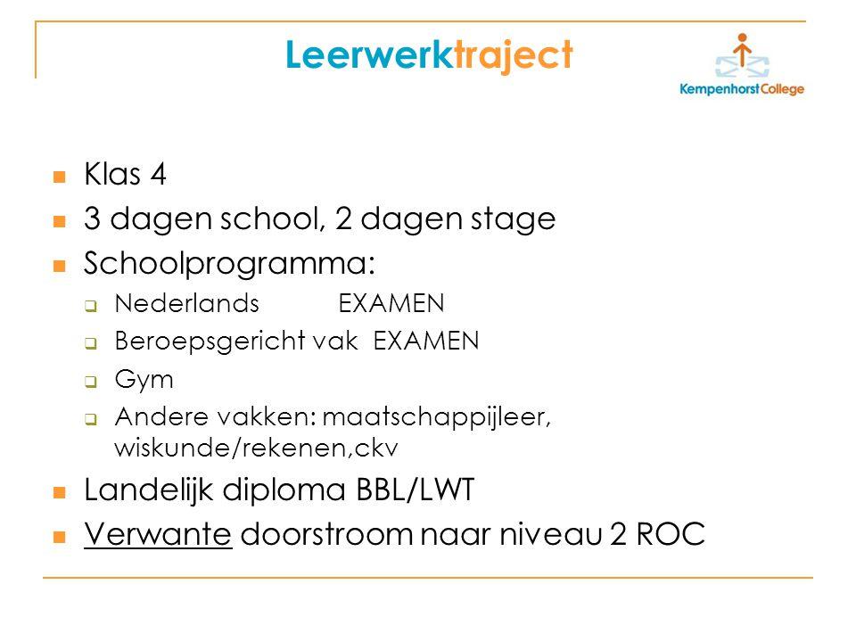 Leerwerktraject Klas 4 3 dagen school, 2 dagen stage Schoolprogramma:  Nederlands EXAMEN  Beroepsgericht vak EXAMEN  Gym  Andere vakken: maatschap
