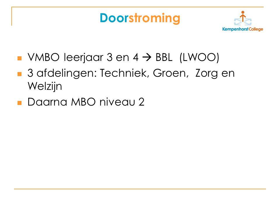 Doorstroming VMBO leerjaar 3 en 4  BBL (LWOO) 3 afdelingen: Techniek, Groen, Zorg en Welzijn Daarna MBO niveau 2