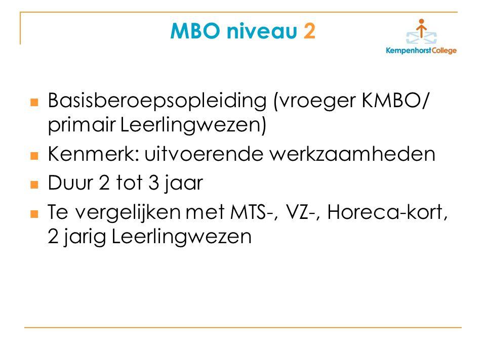 MBO niveau 2 Basisberoepsopleiding (vroeger KMBO/ primair Leerlingwezen) Kenmerk: uitvoerende werkzaamheden Duur 2 tot 3 jaar Te vergelijken met MTS-,