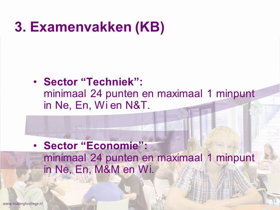 """3. Examenvakken (KB) Sector """"Techniek"""": minimaal 24 punten en maximaal 1 minpunt in Ne, En, Wi en N&T. Sector """"Economie"""": minimaal 24 punten en maxima"""