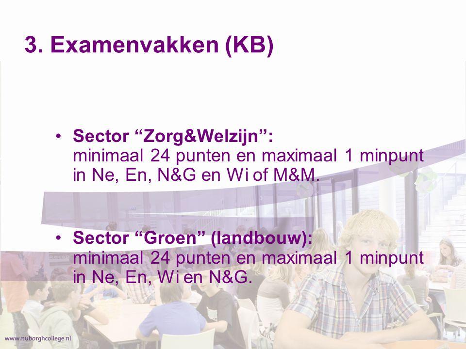 """3. Examenvakken (KB) Sector """"Zorg&Welzijn"""": minimaal 24 punten en maximaal 1 minpunt in Ne, En, N&G en Wi of M&M. Sector """"Groen"""" (landbouw): minimaal"""