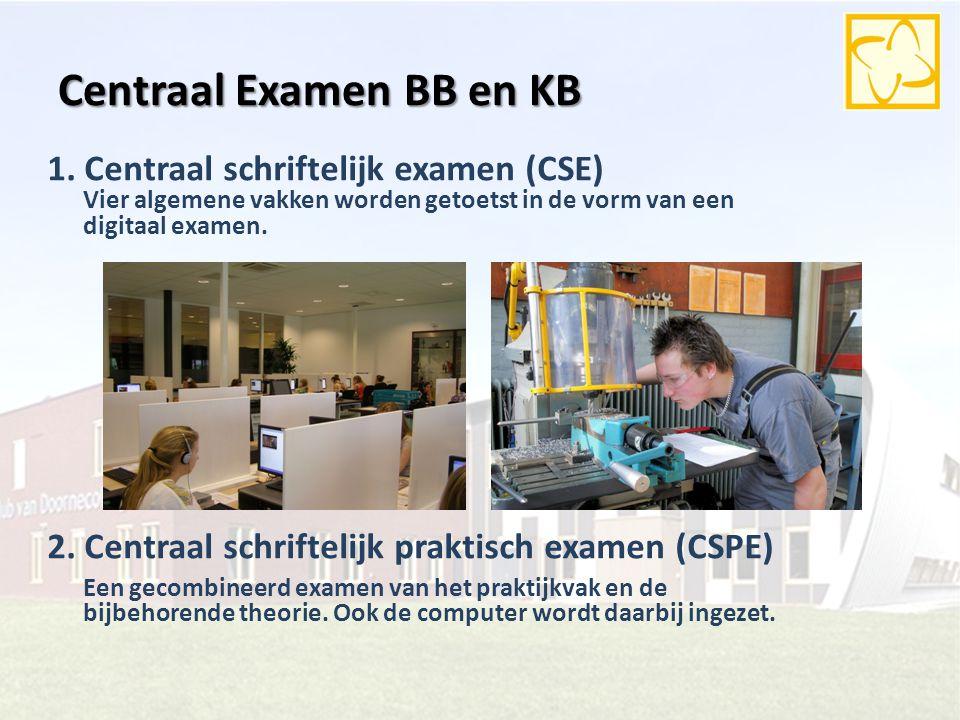 Centraal Examen BB en KB 2. Centraal schriftelijk praktisch examen (CSPE) Een gecombineerd examen van het praktijkvak en de bijbehorende theorie. Ook