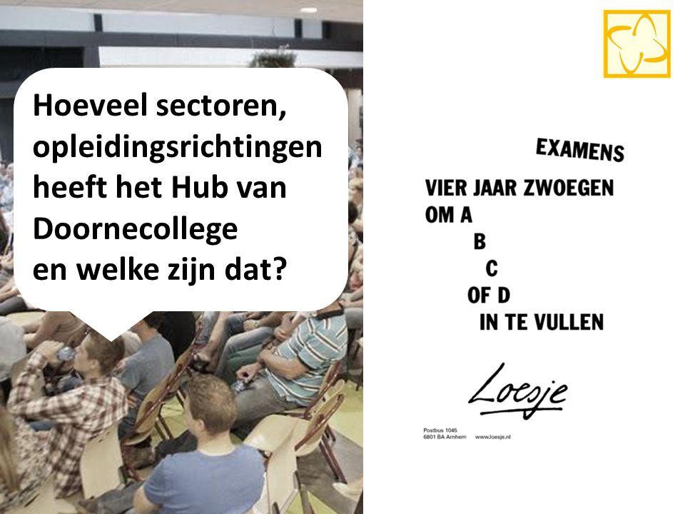 Hoeveel sectoren, opleidingsrichtingen heeft het Hub van Doornecollege en welke zijn dat? 5
