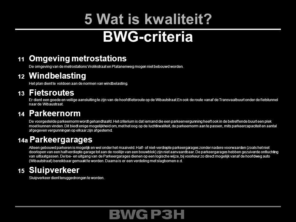 5 Wat is kwaliteit? BWG-criteria 11 Omgeving metrostations De omgeving van de metrostations Vrolikstraat en Platanenweg mogen niet bebouwd worden. 12