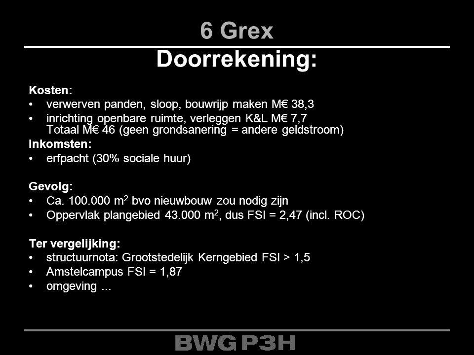 6 Grex Doorrekening: Kosten: verwerven panden, sloop, bouwrijp maken M€ 38,3 inrichting openbare ruimte, verleggen K&L M€ 7,7 Totaal M€ 46 (geen grond
