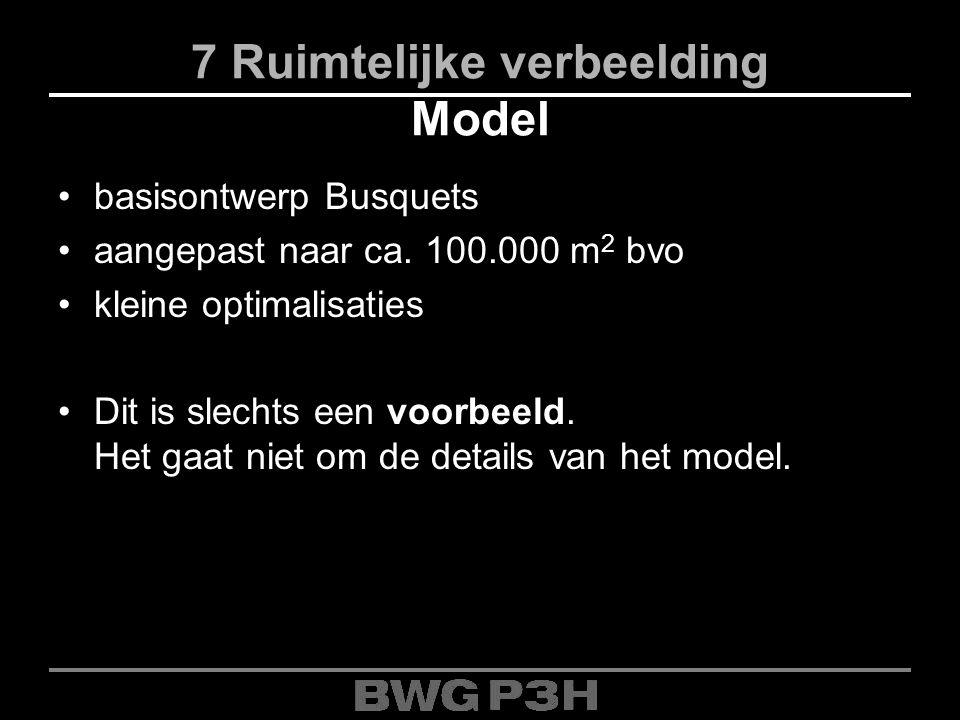 7 Ruimtelijke verbeelding Model basisontwerp Busquets aangepast naar ca. 100.000 m 2 bvo kleine optimalisaties Dit is slechts een voorbeeld. Het gaat