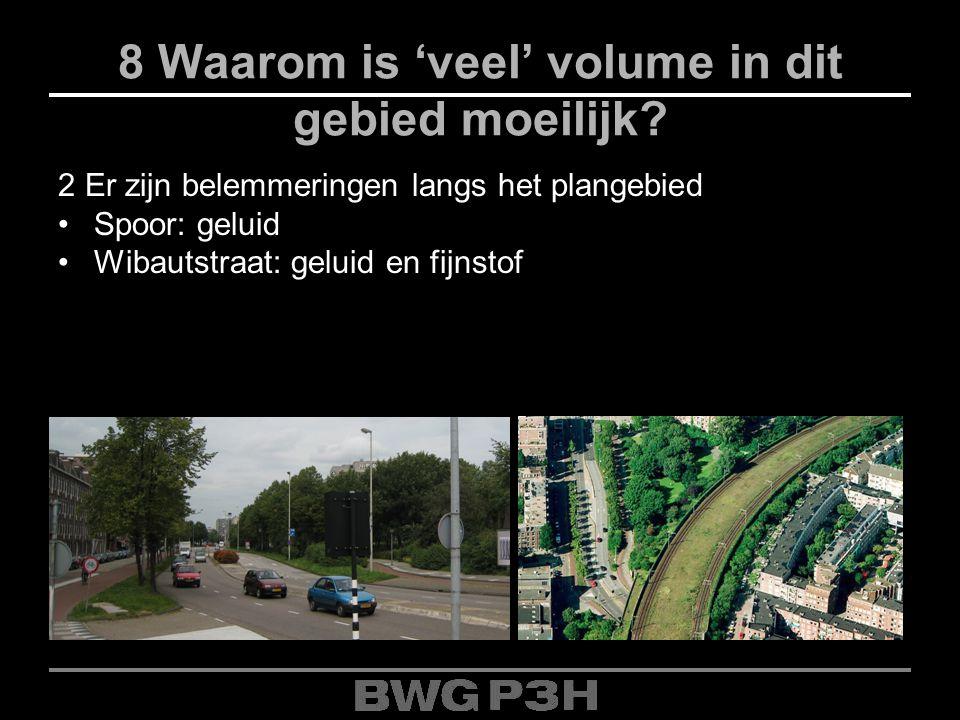 8 Waarom is 'veel' volume in dit gebied moeilijk? 2 Er zijn belemmeringen langs het plangebied Spoor: geluid Wibautstraat: geluid en fijnstof