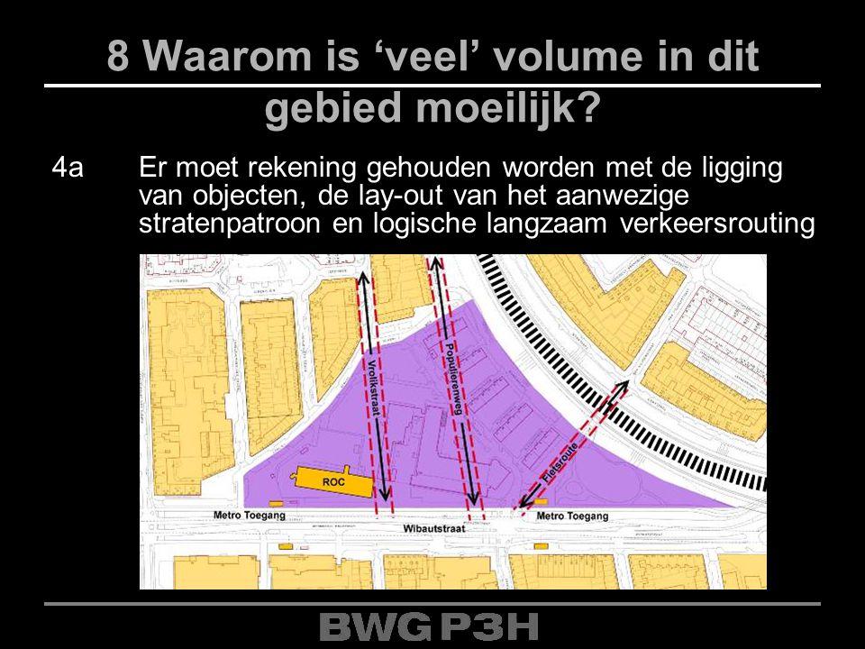8 Waarom is 'veel' volume in dit gebied moeilijk? 4aEr moet rekening gehouden worden met de ligging van objecten, de lay-out van het aanwezige straten