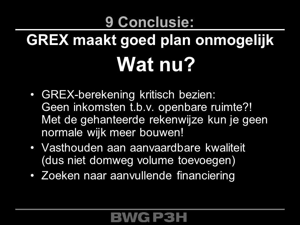 9 Conclusie: GREX maakt goed plan onmogelijk Wat nu? GREX-berekening kritisch bezien: Geen inkomsten t.b.v. openbare ruimte?! Met de gehanteerde reken